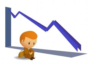 Sad businnessmen with fail graph